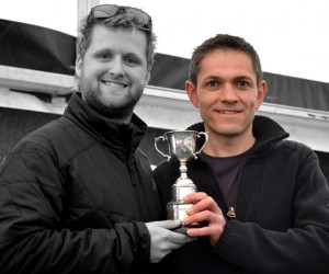 Karl accepting his V40 trophy after his stunning record breaking run
