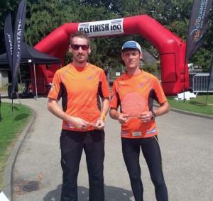 John & Nic with their winning pair trophies