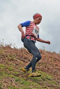 Sally as she descends the final hill