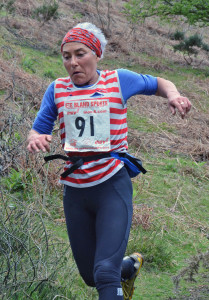 Sally concentrating as she goes for 2nd lady at Coniston