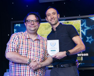 A very happy Ben with his award (photo courtesy of Halifax Courier)