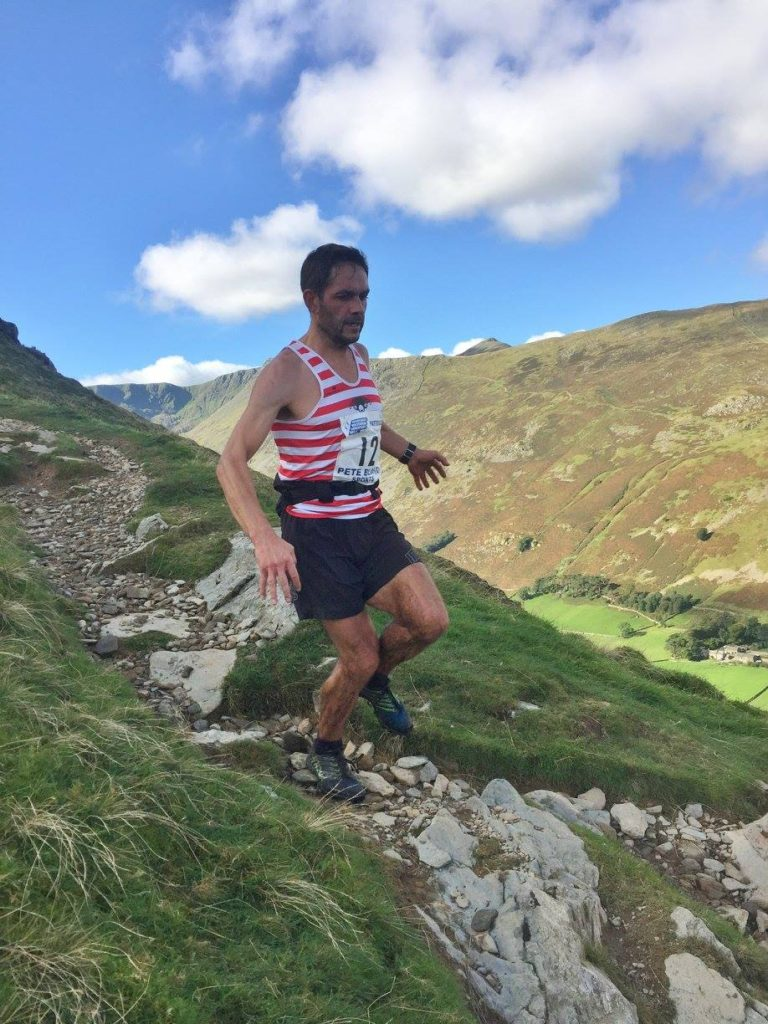 Karl Gray matching the pace on paired leg4 into Patterdale at the HBMR 2016