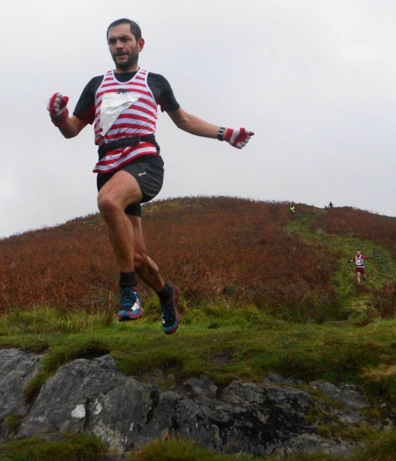 Karl And Tim flying at the British fell relay in Loch Lomond