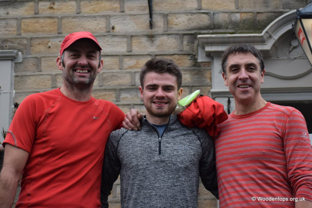 Coach Goldie, English 800m track champ and Fell runner Max Wharton and Dad Mark Wharton taking team prize for Calder Valley.