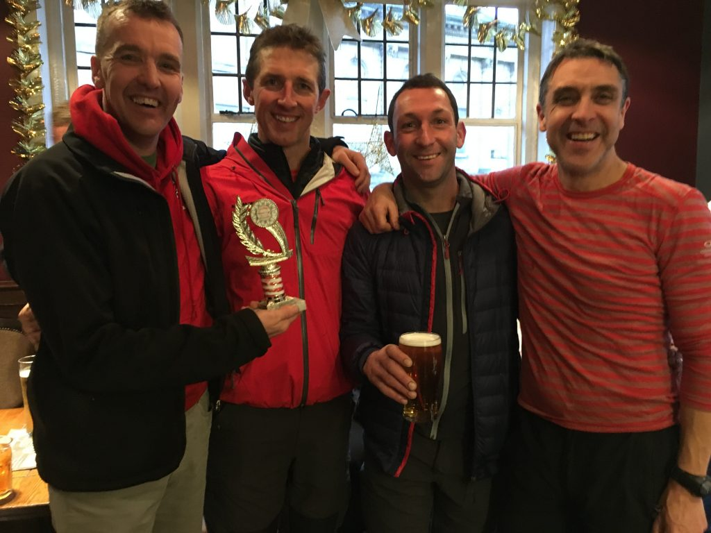 The Leemill Relay Handicap Winners. Powell then Ingram, Ackroyd and Wharton.